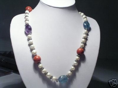 Stylish Real White Freshwater Pearls&Stone&Wooden Necklace