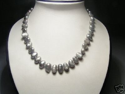 Unique Real Gray Pearls Necklace