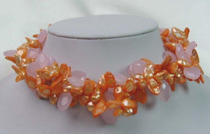 Unique!!! 2 rows fantastic pink pearl & crystal necklace