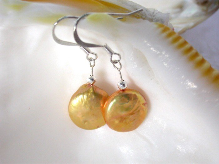 13mm golden coin cultured pearls earrings SS dangle