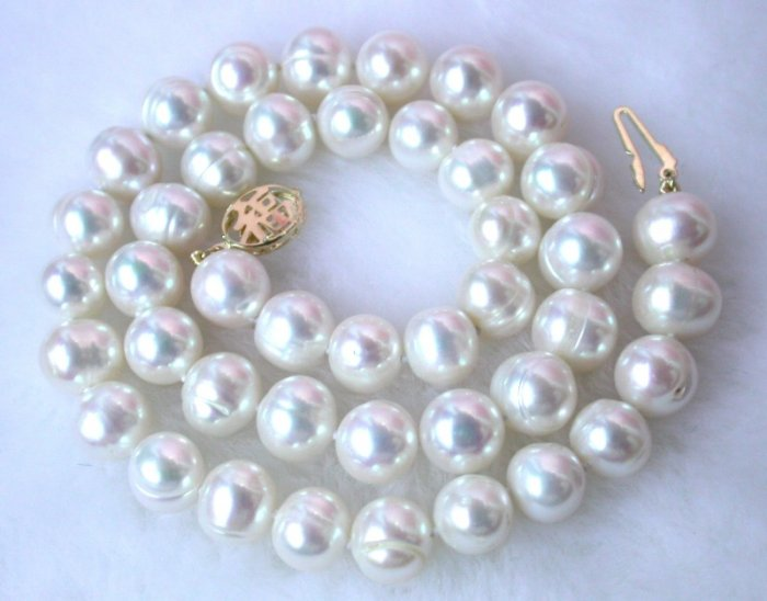 16'' 10mm baroque great luster white FW pearls necklace