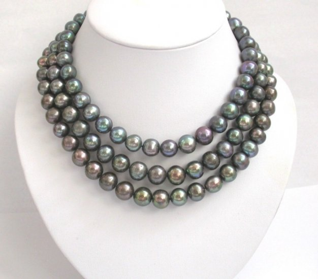 16-17-18 big 10mm round black pearls necklace 9k
