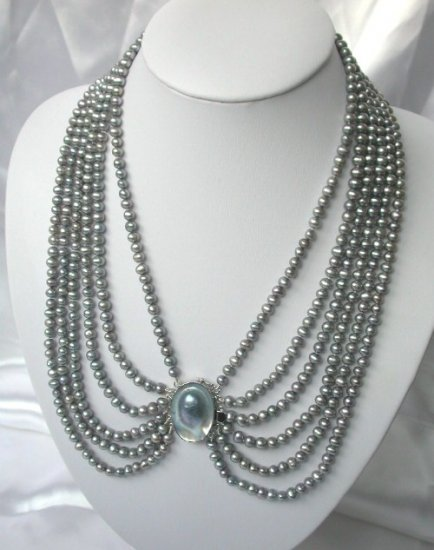 24'' 6 strands gray black freshwater pearls Necklace