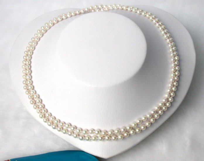 35'' Akoya 7.5mm sea water round white pearls Necklace
