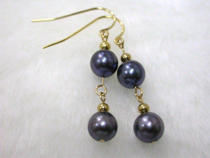 AKOYA round 7mm black saltwater pearl dangle earrings