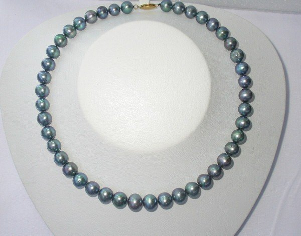 BIG 10mm peacock black FW pearls Necklace 14k gold