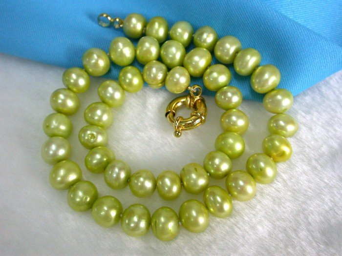 BIGER 11mm green freshwater pearls Necklace 9k gold
