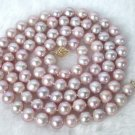 CLASSIC 35'' 9mm round pink cultured pearls necklace 9k