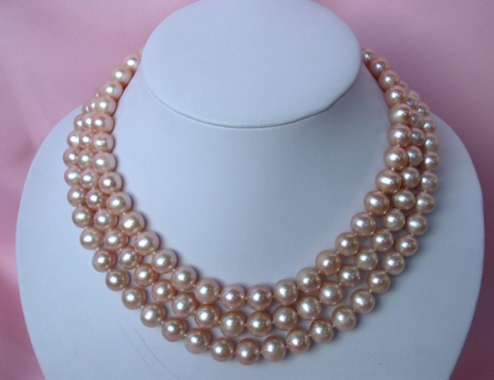 CLASSIC 3str 10mm pink round cultured pearls necklace