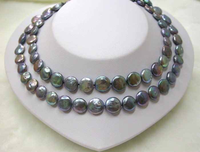 LONG 33'' 13mm black round coin cultured pearls necklace
