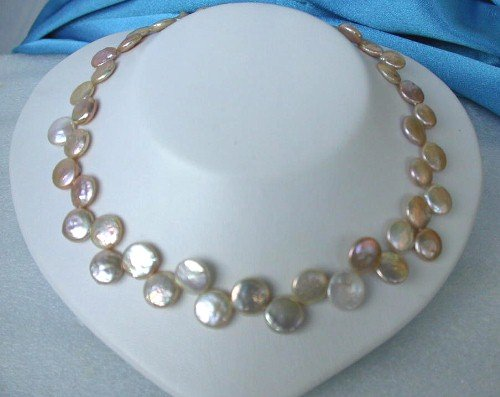 RARE 13MM gold pink coin cultured pearls Necklace