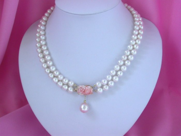 STUNNING double round white pearls Necklace solid gold coral