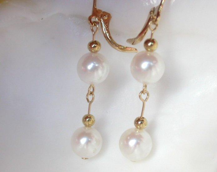 8mm white saltwater pearls dangle earrings 14k