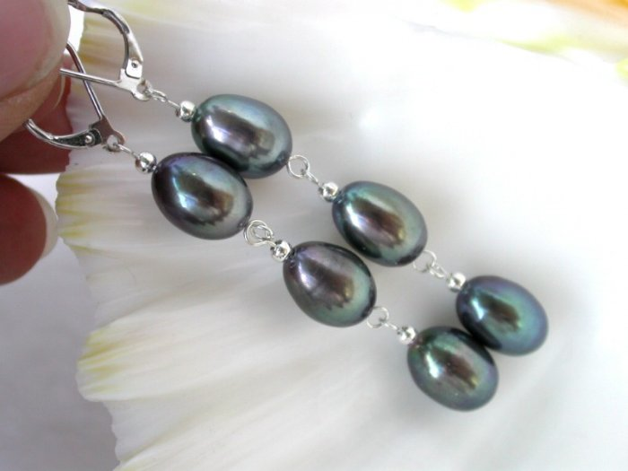classic 12mm black cultured pearls drip dangle earrings