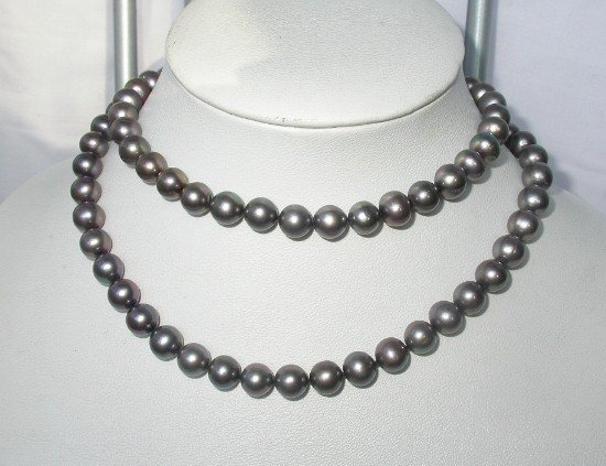 classic 32'' 10mm black round cultured pearls necklace