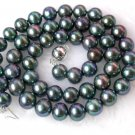 classic 9mm round black freshwater pearls Necklace