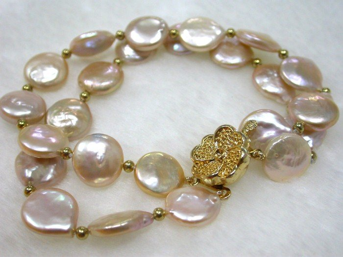 fancy double pink coin round pearls bracelet bangle 9k