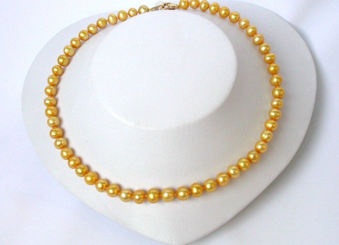 great yellow golden cultured real pearl necklace