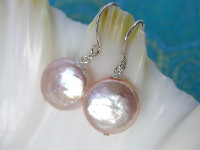 high style pink round coin cultured pearl drip earrings