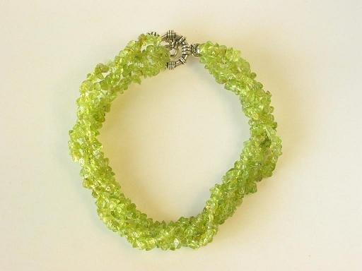 Bracelet Peridot 4 Strands Twist Nugget Chips Green