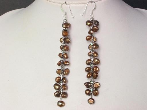 Earings Long 4'' Dangle FW Brown Pearls 925