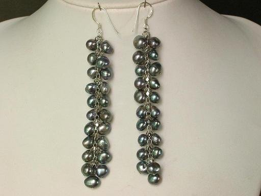 Earings Long 4'' Dangle FW Grey Pearls 925