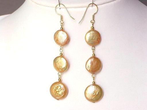 Earrings Biwa Coin Pearls 14mm Gold 14K Dangle