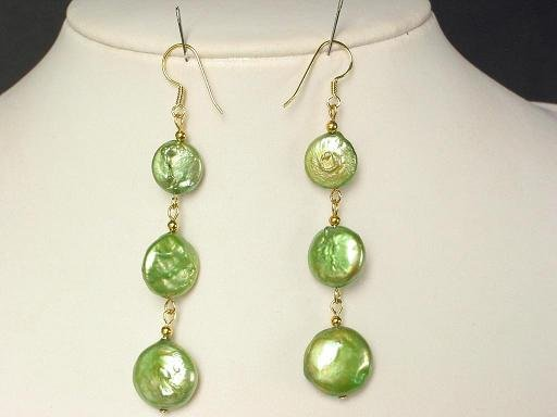 Earrings Biwa Coin Pearls 14mm Peridot Green 14K Dangle