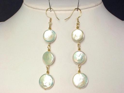 Earrings Biwa Coin Pearls 14mm White 14K Dangle