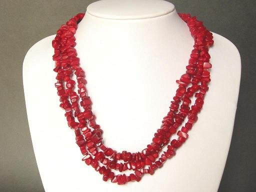 Long 60'' Red Coral Chip Necklace