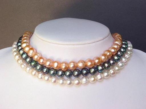 Necklace Choker 3 Strands Tri-Color FW Pearls 9mm
