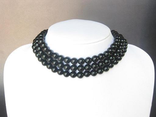 Necklace Choker Black Onyx 3 Strands Bead