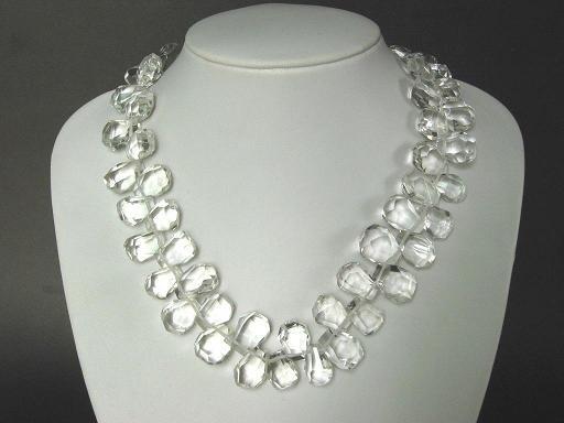 Necklace Clear White Quartz Facet Briolettes