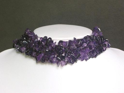 Necklace Dark Amethyst Chips Knit Choker Collar Purple