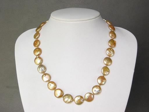 Necklace FW Biwa Coin Pearls Large 14mm Gold