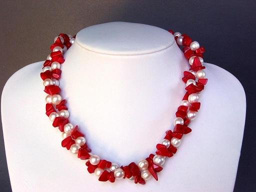 Necklace FW White Pearls with Red Coral Chips 2 Strands