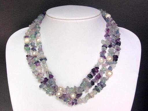 Necklace Flourite Chips FW Pearls 3 Strands