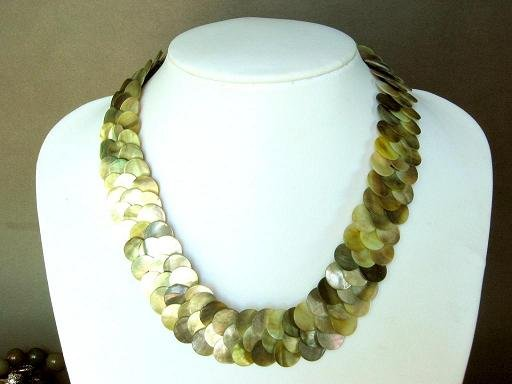 Necklace Grey Abalone Shell Thin Slice Knit