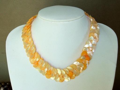 Necklace Orange Abalone Shell Thin Slice Knit