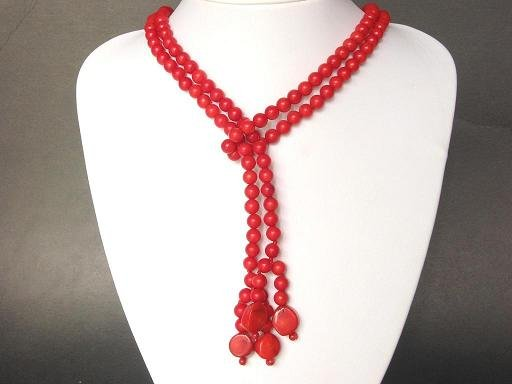 Necklace Red Coral 45'' 1 Strand Beads