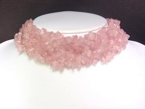 Necklace Rose Pink Quartz Chips Knit Choker Collar