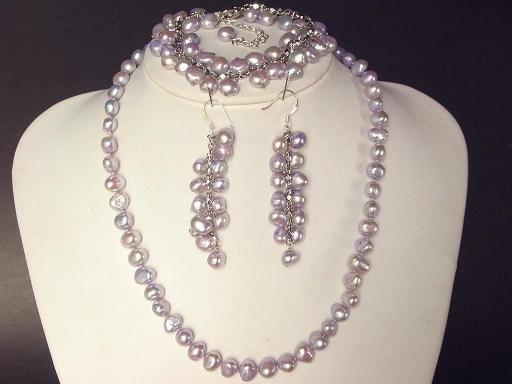 Necklace Set 8mm Lavender Purple FW Pearl Baroque