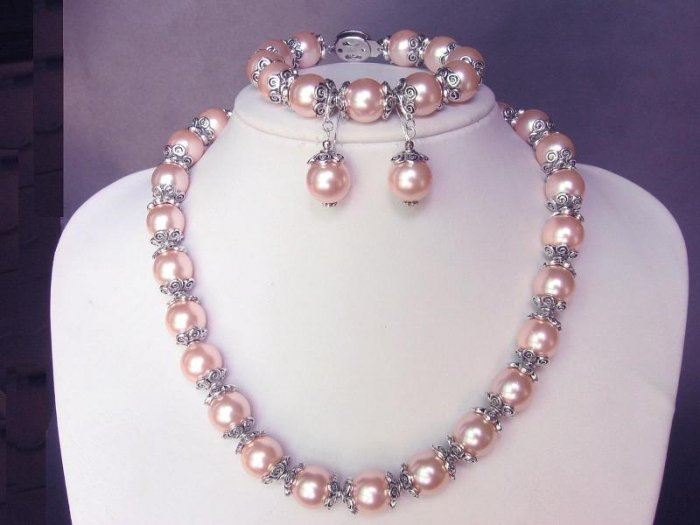 Necklace Set S Sea L Pink Shell Pearls Bali Silver Caps