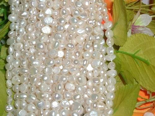 10 strand 6-7 mm nugget white freshwater pearl