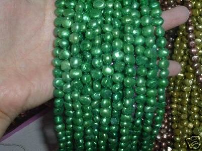 10 strand 7-8 mm nugget freshwater pearl loose string-dark green