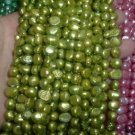10 strand 7-8 mm nugget freshwater pearl loose string-grass gree
