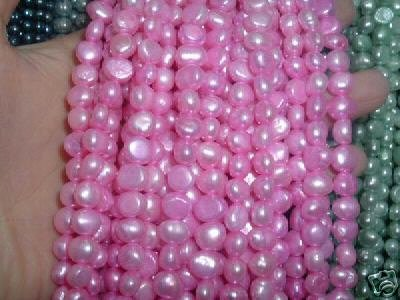 10 strand 7-8 mm nugget freshwater pearl loose string-light pink