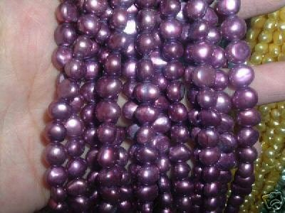 10 strand 7-8 mm nugget freshwater pearl loose string-purple