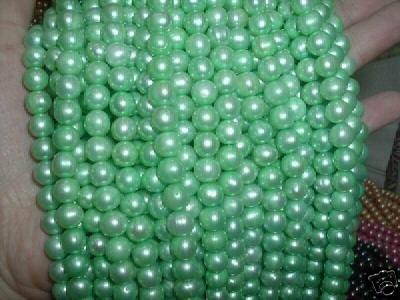 A++ 10 strand 7-8 mm potato freshwater pearl-apple green