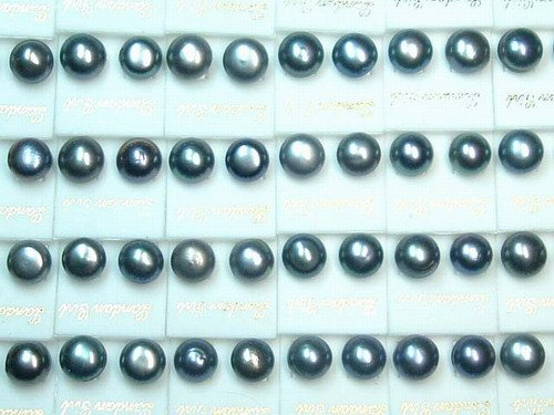 wholesale 30 pairs 10-11 mm black fw pearl Earring-stud